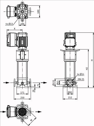 Габаритные размеры насоса Wilo HELIX VE 222-1/25/E/KS артикул: 4164496()