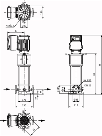 Габаритные размеры насоса Wilo HELIX VE 222-2/25/V/KS артикул: 4164497()