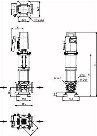 Габаритные размеры насоса Wilo HELIX EXCEL 5202/1-2/16/V/KS артикул: 4171801()