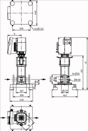 Габаритные размеры насоса Wilo HELIX EXCEL 1606-1/25/E/KS артикул: 4171890()