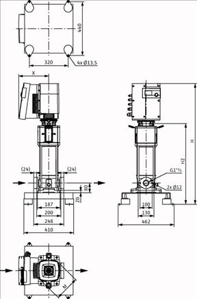 Габаритные размеры насоса Wilo HELIX EXCEL 1009-1/16/E/KS артикул: 4171914()