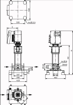 Габаритные размеры насоса Wilo HELIX EXCEL 1012-1/25/E/KS артикул: 4171930()