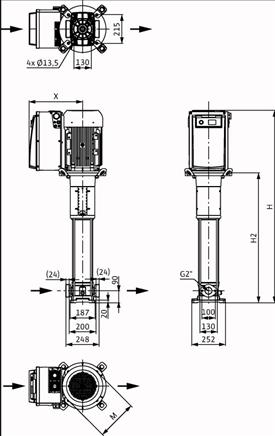 Габаритные размеры насоса Wilo HELIX VE 1606-1/16/E/KS/FF240 артикул: 4190747()