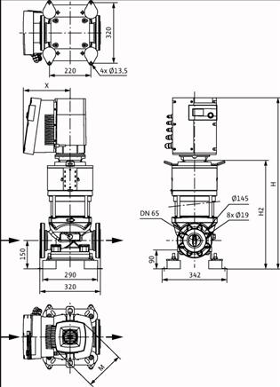 Габаритные размеры насоса Wilo HELIX EXCEL 3602/2-2/16/V/KS артикул: 4196395()