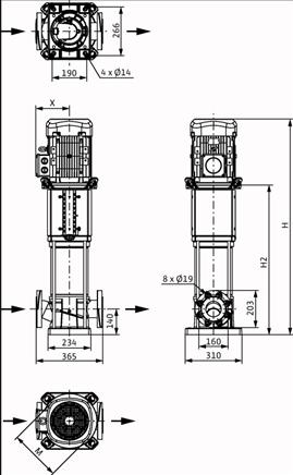 Габаритные размеры насоса Wilo HELIX V 5208-1/25/E/KS/400-50 артикул: 4198509()