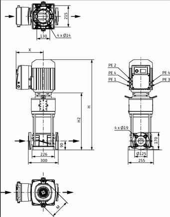 Габаритные размеры насоса Wilo HELIX VE 2203-1/16/E/KS артикул: 4198851()