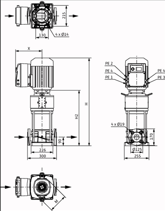 Габаритные размеры насоса Wilo HELIX VE 2205-1/16/E/KS артикул: 4198855()