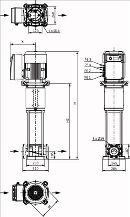 Габаритные размеры насоса Wilo HELIX VE 3602-5,5-1/16/E/KS артикул: 4198861()