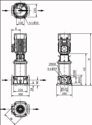 Габаритные размеры насоса Wilo HELIX FIRST V 2209-5/25/E/KS/400-50 артикул: 4200577