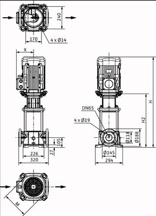 Габаритные размеры насоса Wilo HELIX FIRST V 3608/2-5/25/E/KS/400-50 артикул: 4200595