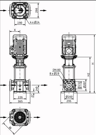 Габаритные размеры насоса Wilo HELIX FIRST V 5208-5/25/E/KS/400-50 артикул: 4200621