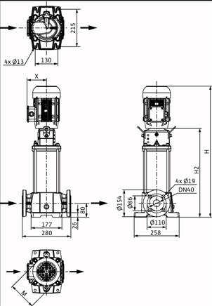 Габаритные размеры насоса Wilo HELIX FIRST V 1008-5/25/E/S/400-50 артикул: 4200956