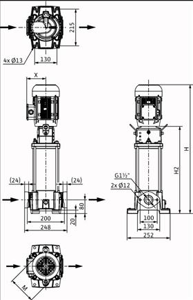 Габаритные размеры насоса Wilo HELIX FIRST V 1012-5/16/E/S/400-50 артикул: 4200966