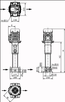 Габаритные размеры насоса Wilo HELIX FIRST V 1021-5/30/E/KS/400-50 артикул: 4200976