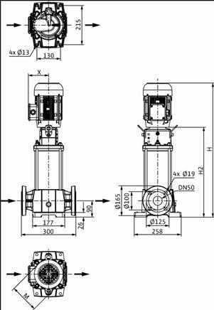 Габаритные размеры насоса Wilo HELIX FIRST V 1601-5/25/E/S/400-50 артикул: 4200979