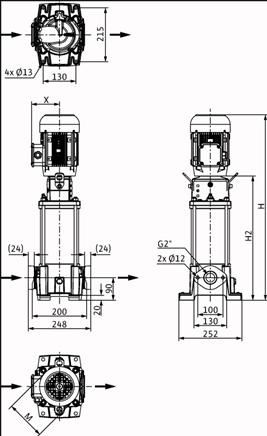 Габаритные размеры насоса Wilo HELIX FIRST V 1604-5/16/E/S/400-50 артикул: 4200986