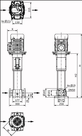 Габаритные размеры насоса Wilo HELIX FIRST V 1612-5/25/E/KS/400-50 артикул: 4201007