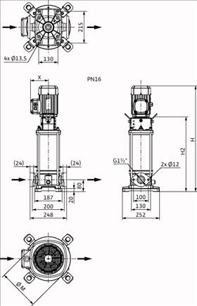 Габаритные размеры насоса Wilo HELIX V 1012-1/16/E/S/400-50 артикул: 4201308((4162673))