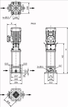 Габаритные размеры насоса Wilo HELIX V 212-1/16/E/S/400-50 артикул: 4201357((4164302))