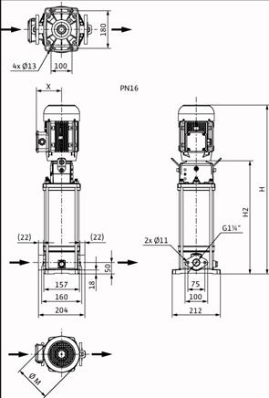 Габаритные размеры насоса Wilo HELIX V 608-1/16/E/S/400-50 артикул: 4201417((4162719))