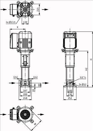 Габаритные размеры насоса Wilo HELIX VE 1002-1/16/E/S артикул: 4201547((4164625))