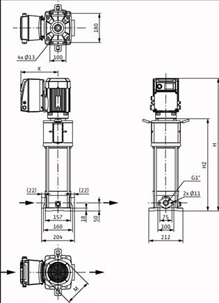 Габаритные размеры насоса Wilo HELIX VE 208-1/16/E/S артикул: 4201565((4164641))