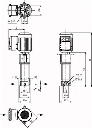 Габаритные размеры насоса Wilo HELIX VE 608-1/16/E/S артикул: 4201585((4171690))