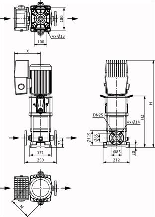 Габаритные размеры насоса Wilo HELIX VE 208-1/25/E/KS/M2 артикул: 4204030()