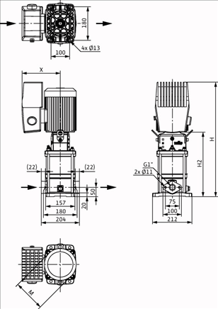 Габаритные размеры насоса Wilo HELIX VE 405-1/16/E/S/M13 артикул: 4204035()