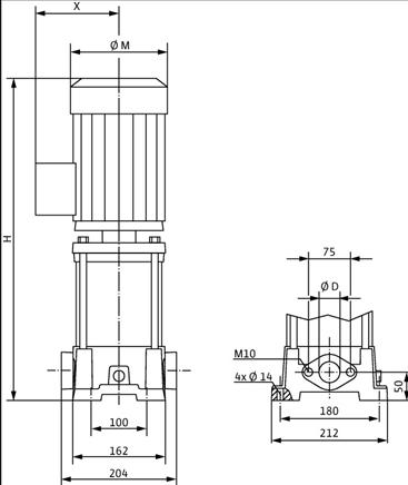 Габаритные размеры насоса Wilo MVIL 308-16/E/3-400-50-2/IE3 артикул: 4211064((4159242))