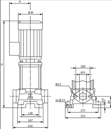 Габаритные размеры насоса Wilo MVIL 907-16/E/3-400-50-2/IE3 артикул: 4211122()