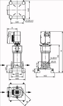 Габаритные размеры насоса Wilo HELIX EXCEL 2202-1/16/E/KS артикул: 4212773((4162482))