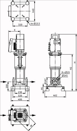 Габаритные размеры насоса Wilo HELIX EXCEL 3602-7.5-1/16/E/KS артикул: 4212794((4171824))
