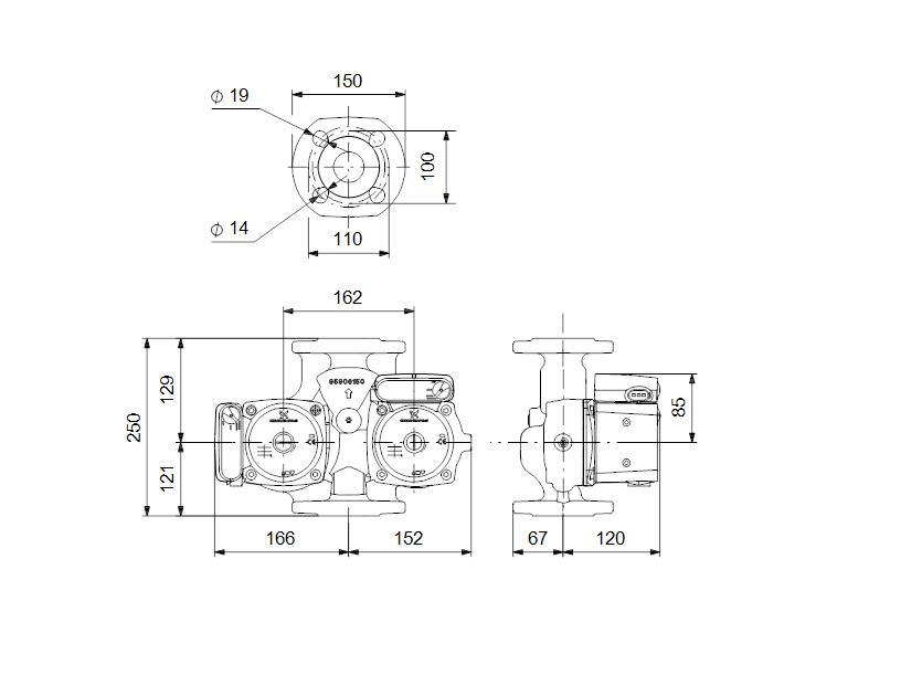 Габаритные размеры насоса Grundfos UPSD 40-50 F 250 1x230V 50Hz 12H PN6/10 артикул: 95906423