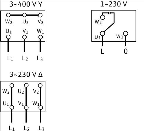 Схема подключений насоса Wilo MHI 203-2/V/3-400-50-2 артикул: 4015679()