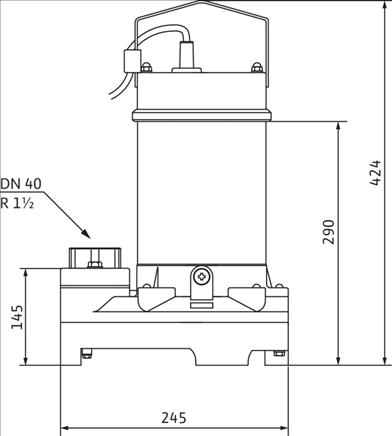 Габаритные размеры насоса Wilo TS 40/10A 3-400-50-2-10M KA. артикул: 2063929()