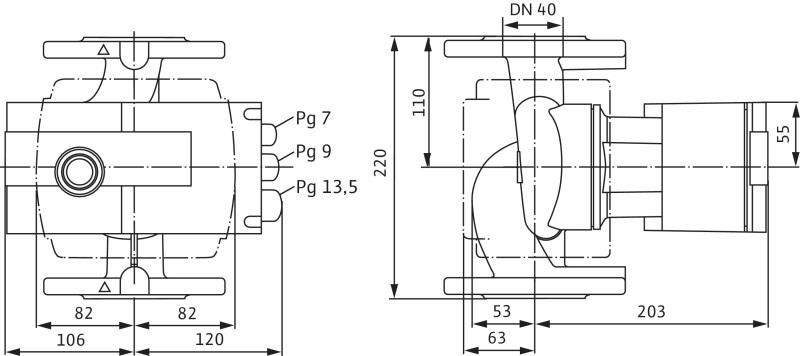 Габаритные размеры насоса Wilo STRATOS-Z 40/1-8 RG PN16 артикул: 2069737()