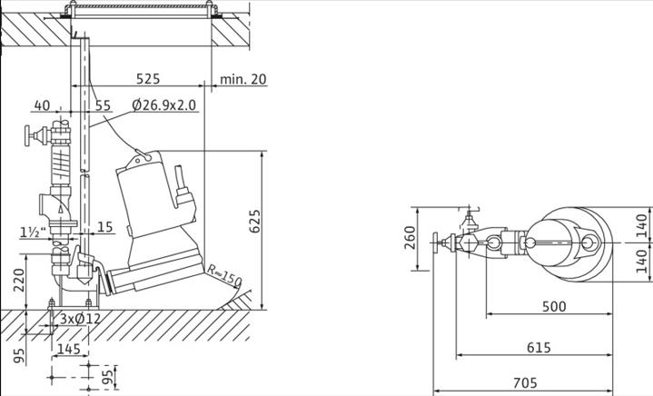 Габаритные размеры насоса Wilo MTC 32 F 55.13/66/3-400-50-2 артикул: 2081267()
