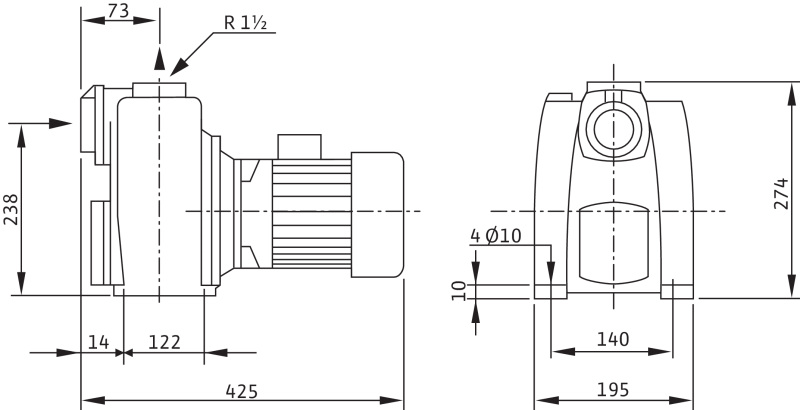 Габаритные размеры насоса Wilo LPC 40/19 3-400-50-2 артикул: 2081686()