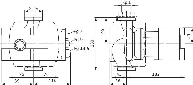 Габаритные размеры насоса Wilo STRATOS-Z 25/1-8 RG артикул: 2090469()