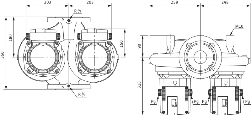 Габаритные размеры насоса Wilo TOP-SD 80/15 DM PN6 артикул: 2165569((2080094))