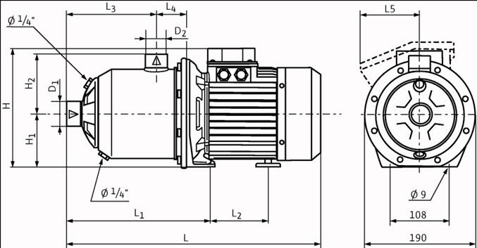 Габаритные размеры насоса Wilo MHI 204-2/V/1-230-50-2 артикул: 4015680()