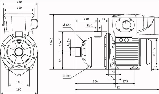 Габаритные размеры насоса Wilo MHIE 206N-1/E/3-2-2G артикул: 4073102()