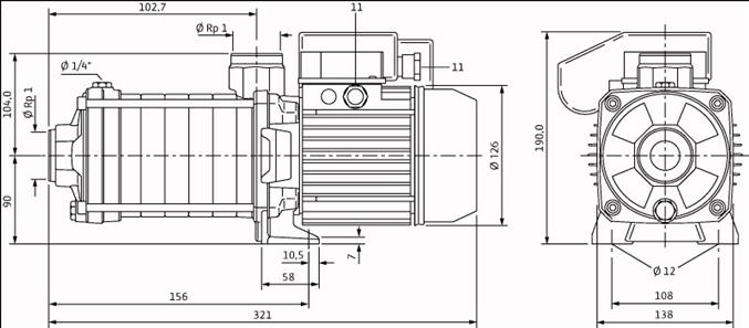 Габаритные размеры насоса Wilo MHIL 102-E-1-230-50-2 артикул: 4083883()