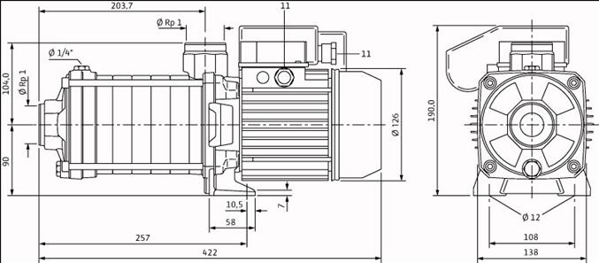 Габаритные размеры насоса Wilo MHIL 107-E-3-400-50-2 артикул: 4083892()