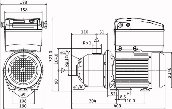 Габаритные размеры насоса Wilo MHIE 403-1/E/1-2/M13 артикул: 4171776()