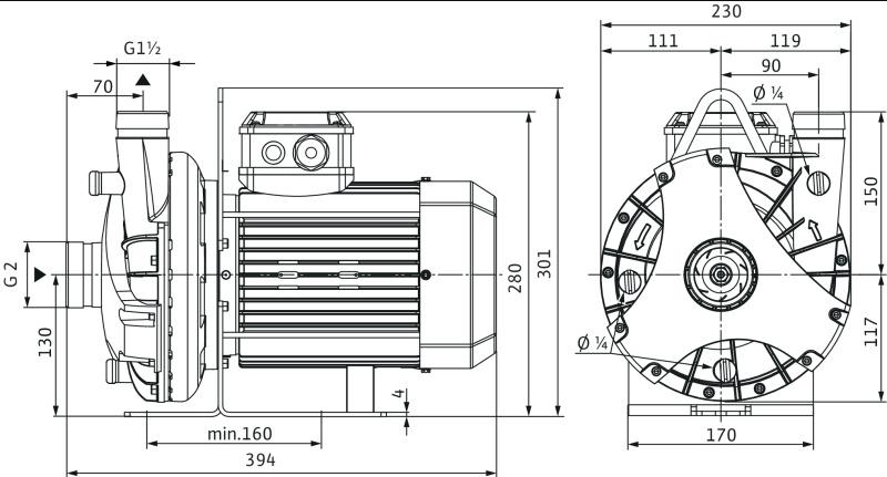 Габаритные размеры насоса Wilo BAC 40-134-2.2/2-DM/S-2 артикул: 4213190((4203790))