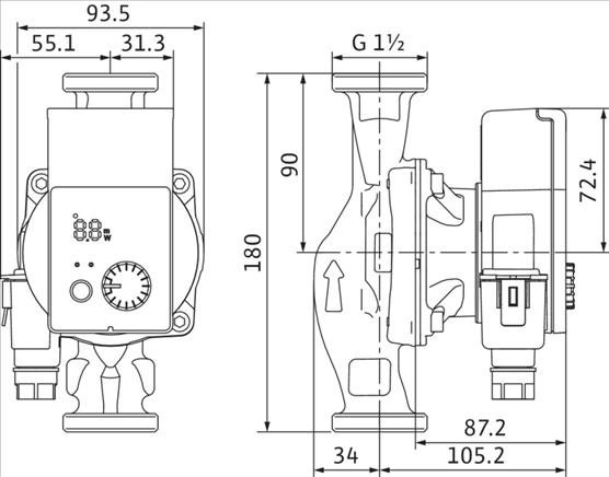 Габаритные размеры насоса Wilo YONOS PICO 25/1-8 артикул: 4215517((4164019))