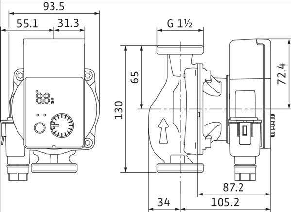 Габаритные размеры насоса Wilo YONOS PICO 25/1-8-130 артикул: 4215518((4179660))