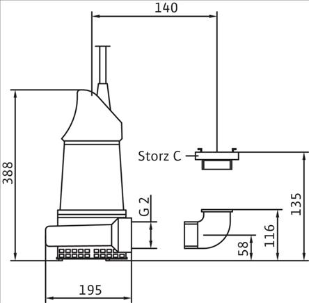 Габаритные размеры насоса Wilo KS 8 DS артикул: 6019447()